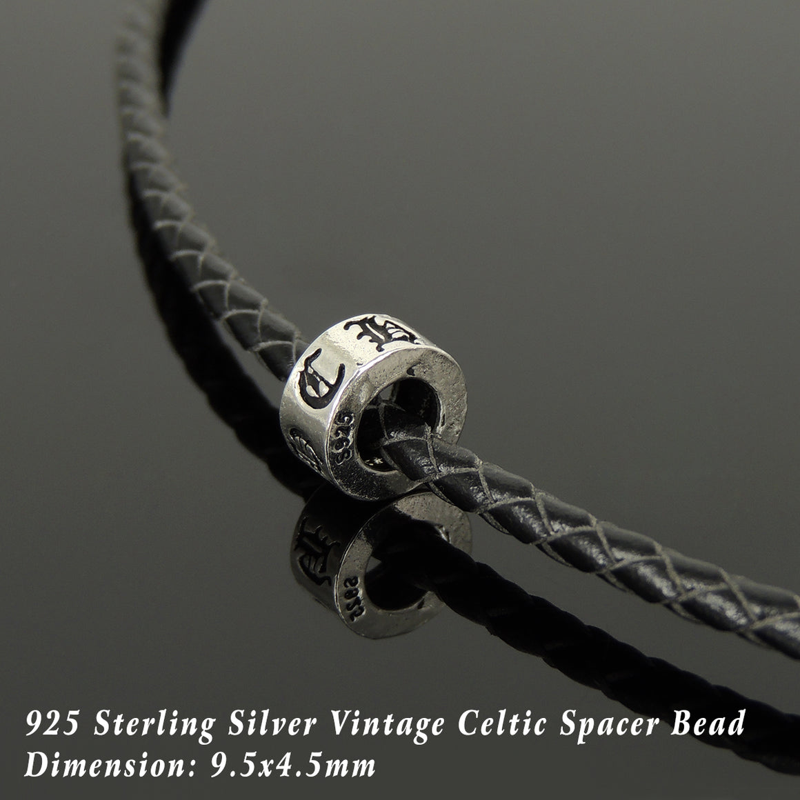 Handmade Vintage Celtic Choker Necklace - Authentic Turkish Black Leather for Men's Women's Casual Style with Sterling Silver 925 (non-plated) Parts NK213