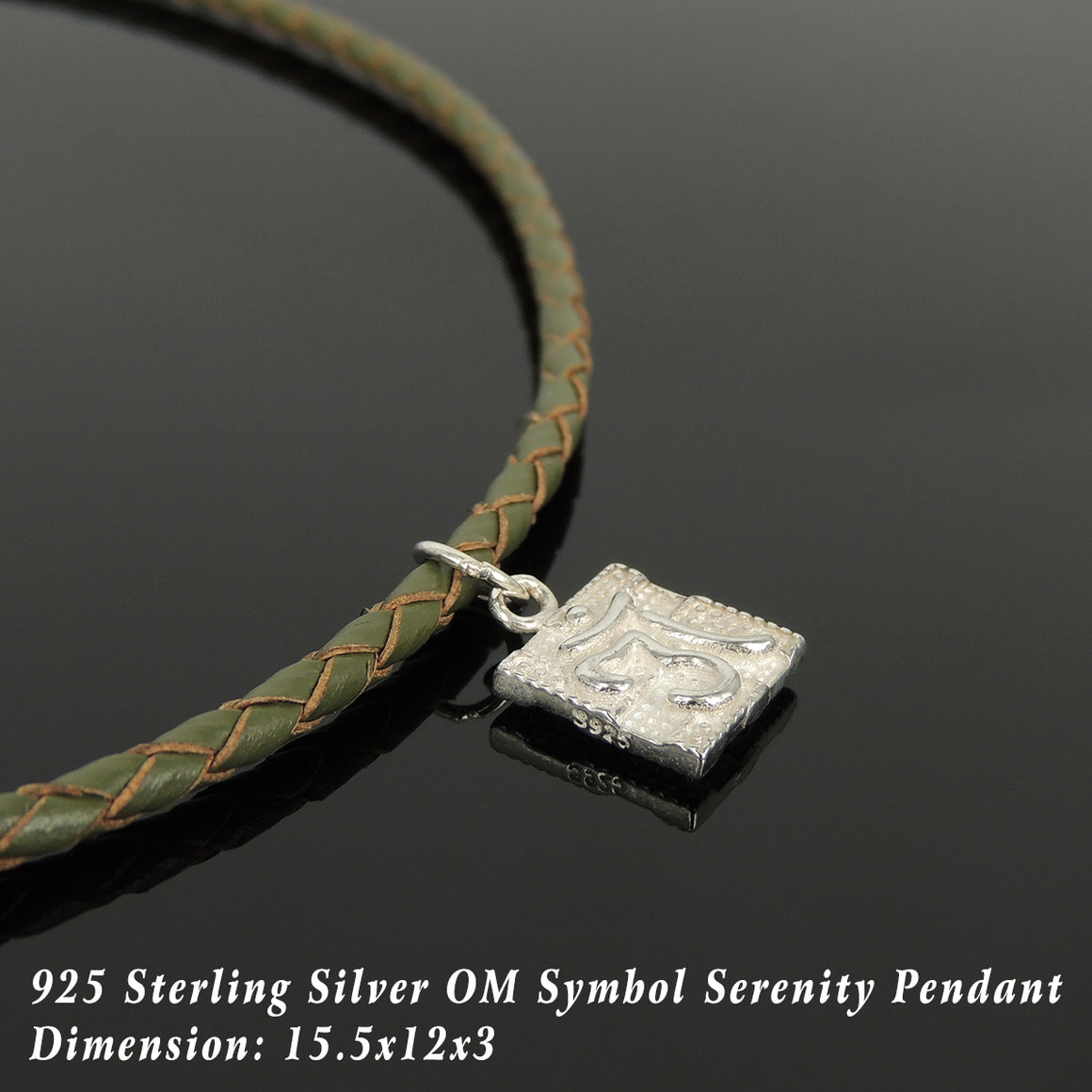 Handmade Om Serenity 90's Choker Necklace - Authentic Olive Green Leather for Men's Women's Casual Wear, Healing with Sterling Silver 925 (non-plated) Toggle S-Clasp NK217