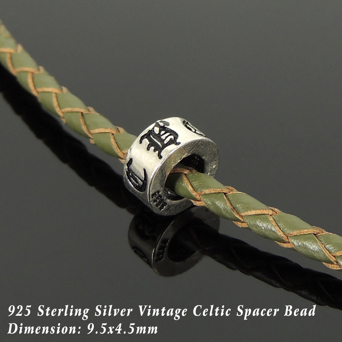 Handmade Vintage Celtic Choker Necklace - Authentic Olive Green Leather for Men's Women's Casual Style with Sterling Silver 925 (non-plated) Parts NK220