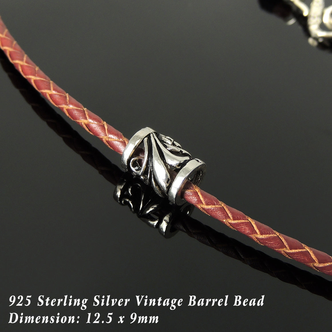 Handmade Vintage Celtic 90's Choker Necklace - Authentic Turkish Red Leather for Men's Women's Casual Style with Sterling Silver 925 (non-plated) Toggle S-Clasp NK233