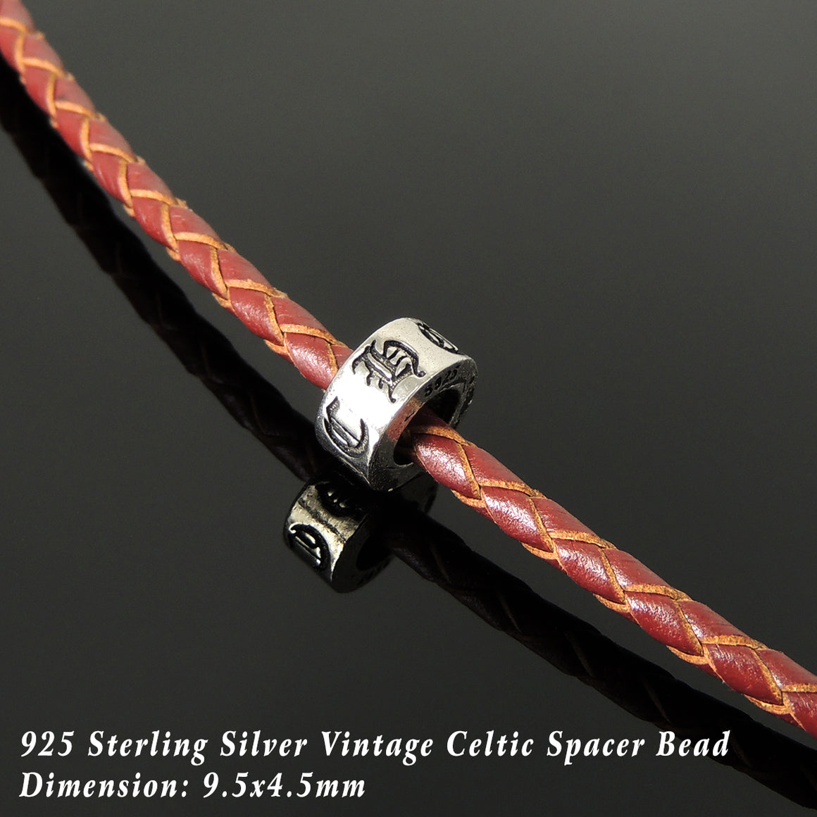 Handmade Vintage Celtic Choker Necklace - Authentic Turkish Red Leather for Men's Women's Casual Style with Sterling Silver 925 (non-plated) Parts NK234