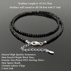 Handmade Adjustable Chain Gemstone Necklace - Men's Women's Casual Wear, Protection with Healing Natural Bright Black Onyx 3mm Faceted Beads, Genuine Non-Plated S925 Sterling Silver Clasp NK254