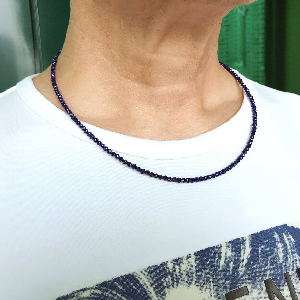 Handmade Adjustable Chain Crystal Necklace - Men's Women's Daily Wear, Awareness with Healing Natural Lapis Lazuli 3mm Faceted Beads, Genuine Non-Plated S925 Sterling Silver Clasp NK256