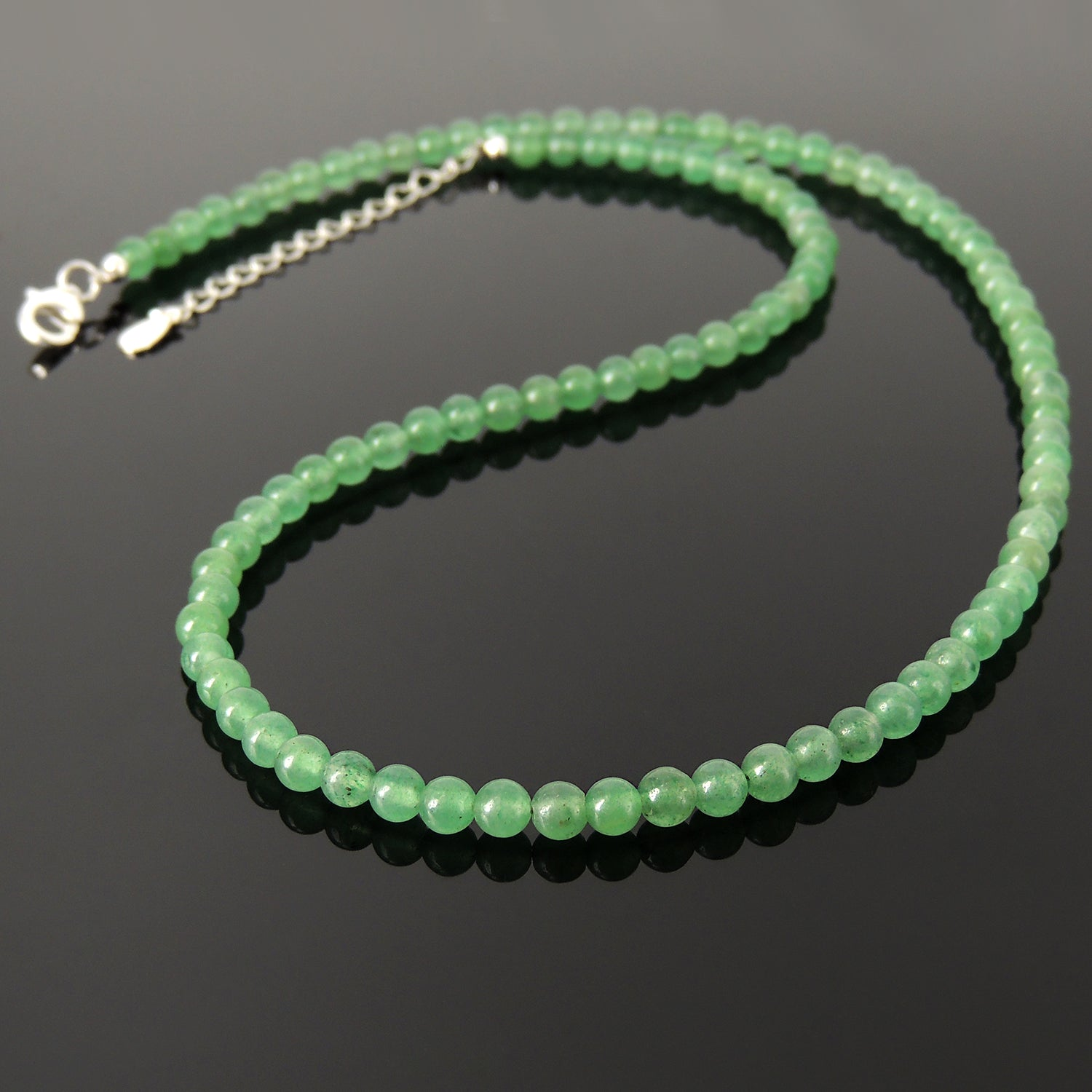 Handmade Healing Natural Aventurine Quartz Gemstone Necklace - Men's Women's Daily Wear, Awareness with 4mm Beads, Genuine Non-Plated S925 Sterling Silver Adjustable Chain & Clasp NK257