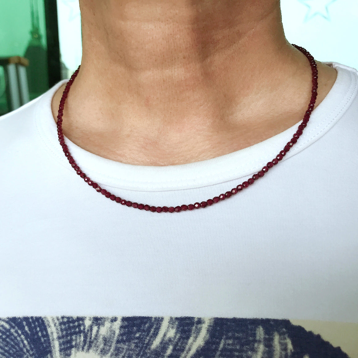 Handmade Healing Natural Garnet Crystal Necklace - Men's Women's Daily Wear, Awareness with 3mm Faceted Beads, Genuine Non-Plated S925 Sterling Silver Adjustable Chain & Clasp NK258