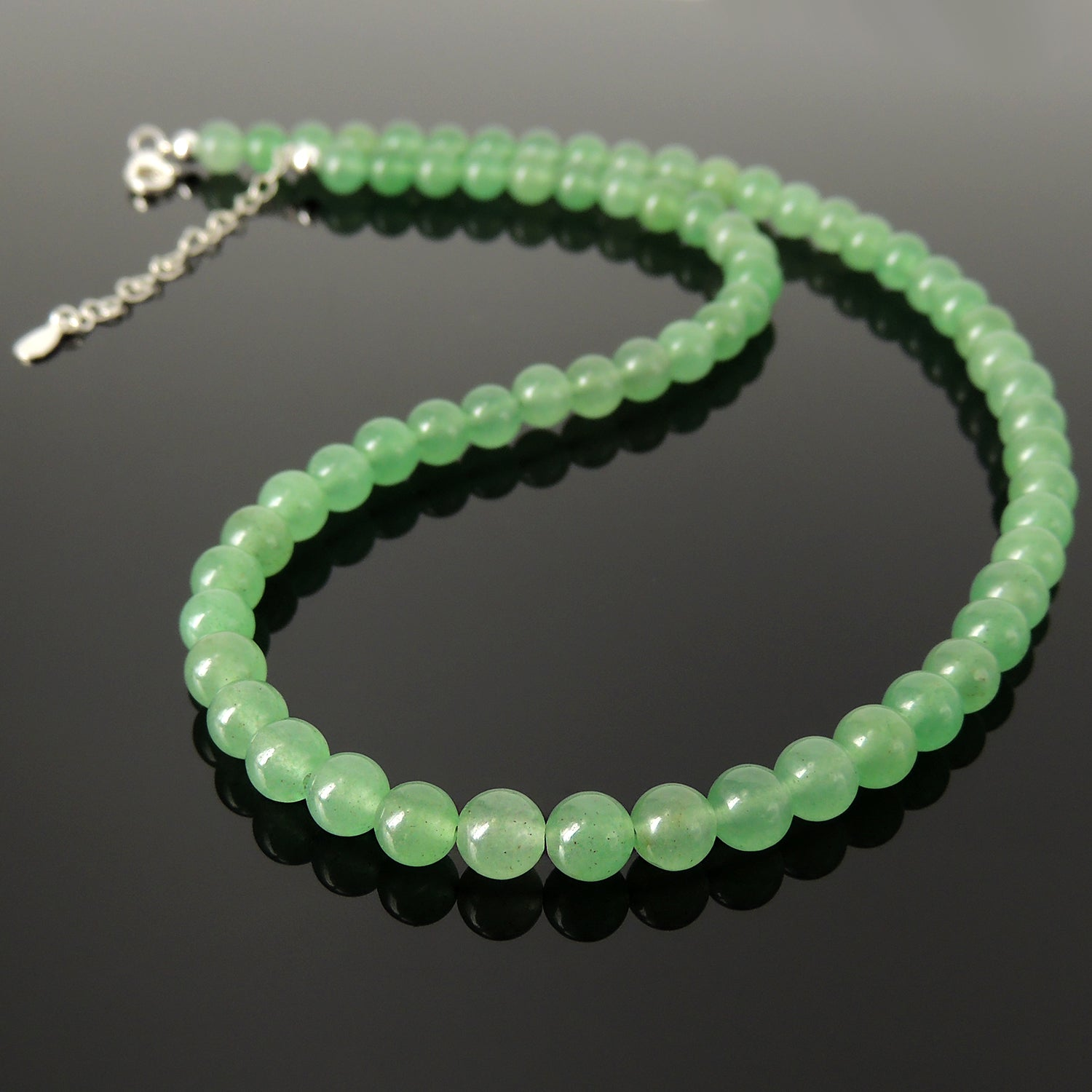 Handmade Adjustable Chain Necklace -  Natural Green Aventurine Quartz Crystals, 6mm Beads, Genuine Non-Plated S925 Sterling Silver Parts for Men's Women's Casual Wear, Healing, Protection, Mindfulness Meditation, Awareness NK260