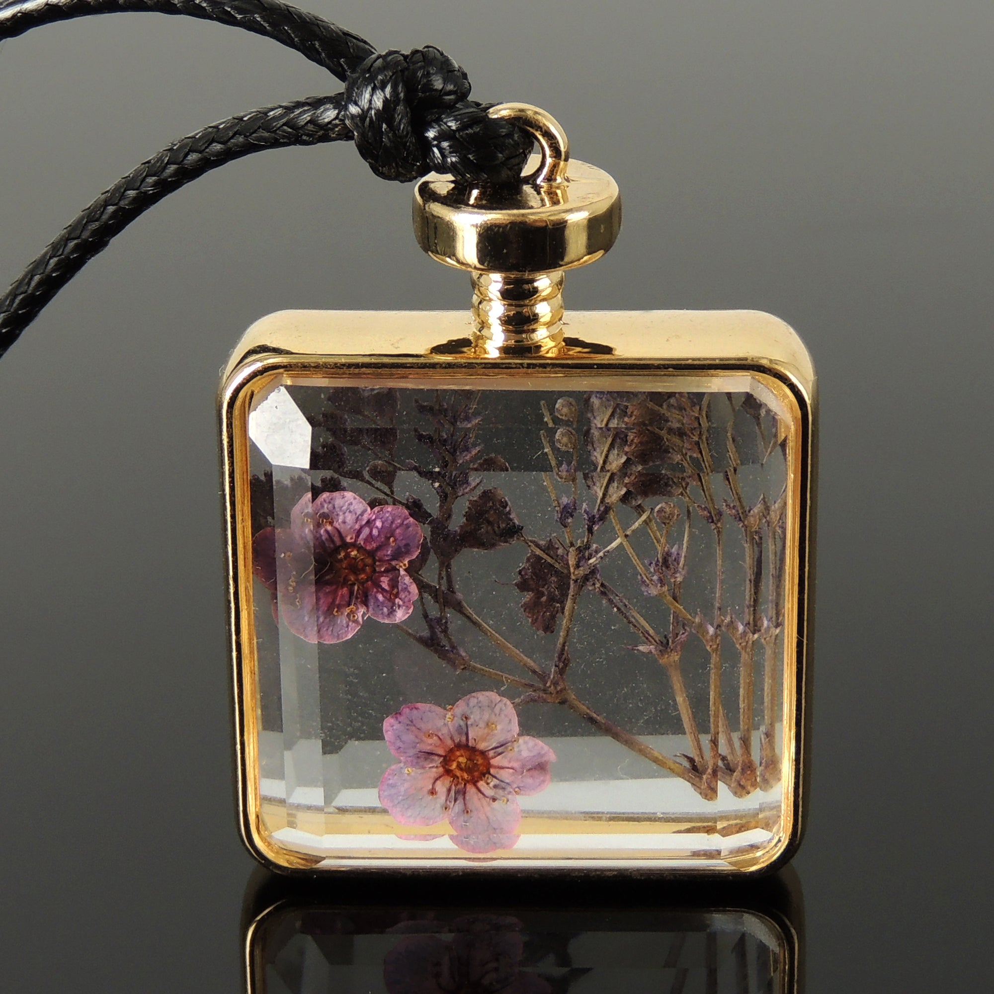 Handmade Bottled Dried Flower Collection - Whimsical Glass Perfume Bottle Pendant Necklace, Natural Pressed Purple Flower Variety, Floating Glass Shadow Box, Easily Adjustable Wax Rope