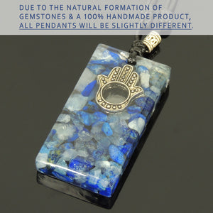 Handmade Polished Epoxy Resin Pendant, Adjustable Wax Rope Necklace, Embedded Hamsa Hand Bead, Small Natural Lapis Lazuli and Aquamarine Gemstone Chips, Tibetan Silver, Non-plated Genuine 925 Sterling Silver