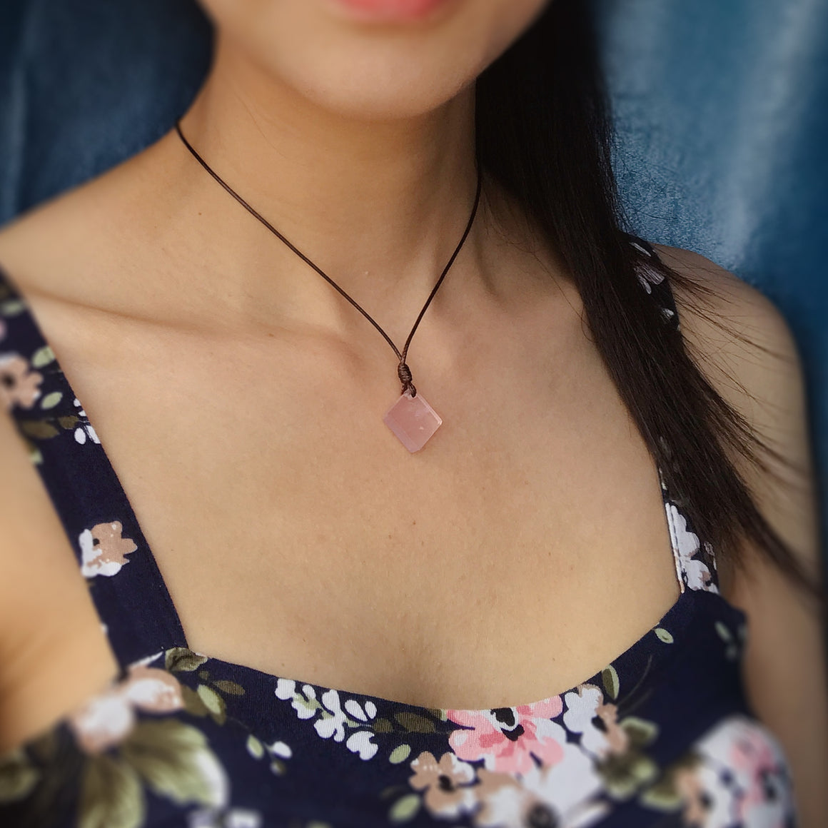 Modern Pink Rose Quartz Diamond Pendant Necklace | Heart Chakra Healing | Powerful Self-Love Affirmations | Essential Jewelry for Rebuilding Trust and Compassion