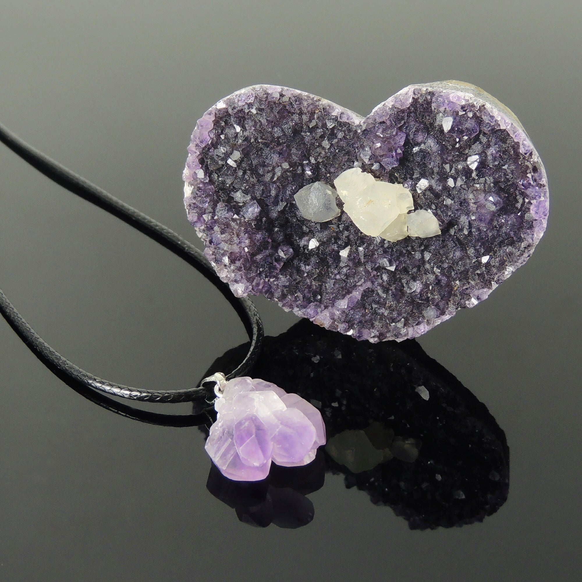 healing jewelry Purple amethyst necklace reiki infused