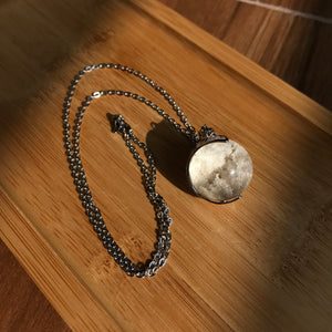 Copy of Only 1 Available | 22.5mm Super RARE White Crystal Phantom Quartz Sphere Pendant Necklace with Black Rutilated Quartz Inclusions | Beautiful Powerful Energy for 7 Chakra Healing