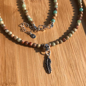 Handmade Necklace with Native Skull and Feather Pendant | Natural Genuine 4mm Small Jasper Gemstones for Root Chakra Grounding | Powerful Good Luck Charm - Promotes Safety and Security