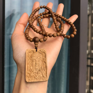 ONLY 1 AVAILABLE | Hand-Carved Kalimantan Agarwood Guanyin Goddess Pendant Necklace | 6mm Natural White Sand Vietnam Agarwood Beads | Powerful Compassion and Meditation Mala