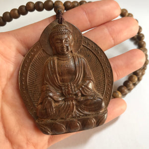Meditation Talisman | Natural White Sand Vietnam Agarwood Beads | Hand-Carved Buddha Pendant Necklace for Zen and Protection | Handmade Braided and Adjustable
