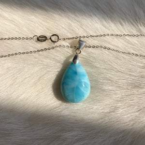 ONLY 1 AVAILABLE | Natural Highest Quality Larimar Gemstone Pendant Necklace | Hand-Carved Teardrop Pendant | Soothing Worry Stone - Blue Crystal Energy and Throat Chakra Activation