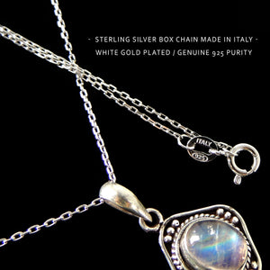 June Birthstone Elegant Oval Moonstone Pendant - Handmade Italian Box Chain Necklace, Bohemian Jewelry, Gypsy Goth Aesthetic, Meditation Gemstone Amulet, White Gold Plated Sterling Silver 925 Purity