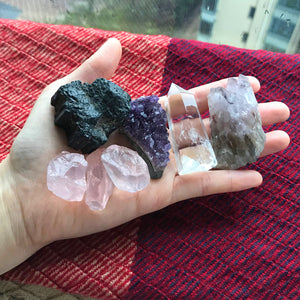 ALL NATURAL RAW STONE SET | RAW CRYSTAL SET for Home Decor, Powerful Reiki Healing, Meditation, Therapy, and Yoga