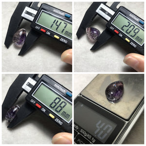 Extremely Rare Super Seven with Amethyst Rutile | Teardrop Gemstone Pendant | 4g Genuine Natural Polished Mineral Lepidocrocite | 7 Chakra Healing Gems