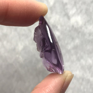 6.7g High Grade Genuine Amethyst Crystal Buddha | Hand-carved Teardrop Pendant | Natural Polished Gemstones with Clear Purple Gradients | Third Chakra Healing Stones