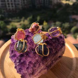 Cute Festive Present Birthstone Charms | 10mm Cubes Healing Gemstone Pendants | Genuine Amethyst, Aquamarine, Rainbow Fluorite, Rhodonite, Strawberry Quartz