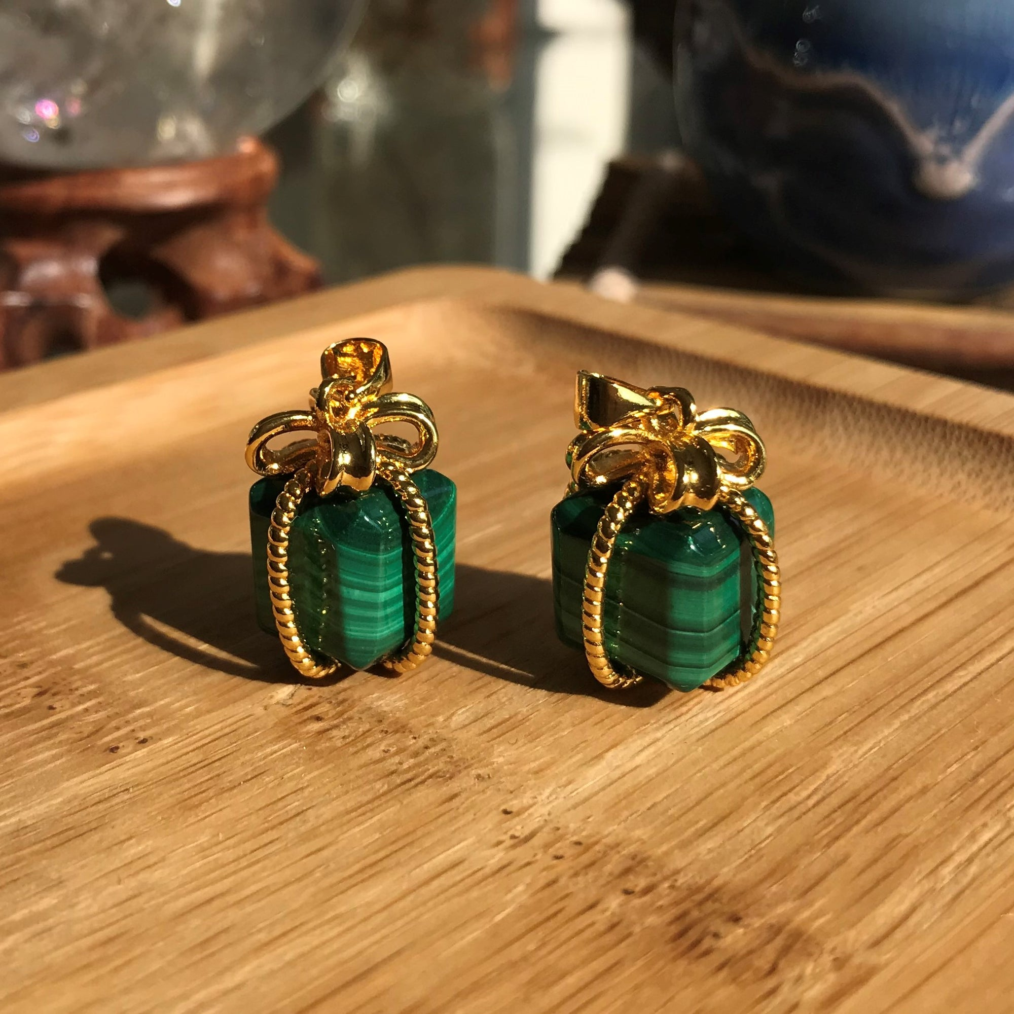 Cute Festive Presents - Taurus Birthstone Charms | 12mm Healing Gemstone Cube Pendants | Genuine Malachite for Heart Chakra Activation, Opens Anahata Energy Center