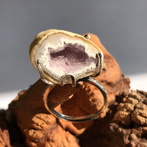 Only 1 Available | Healing Crystal Brazilian Agate Mini Geode Ring Pendant | Attracts Prosperity and Wealth | Genuine 925 Sterling Silver Hand-Crafted Adjustable Ring Band