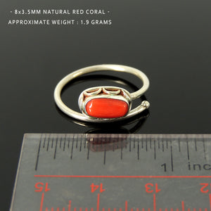 Women's Precious Red Coral Ring, Elongated Oval Corallium, Handmade Bezel Midi Ring, Stackable, Vintage Navajo Boho, Adjustable Sterling Silver Non-allergenic 925 Purity