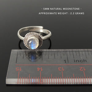 Natural Moonstone Ring, June Birthstone, Handmade in Nepal, Bezel Midi Ring, Stackable, Women's Bohemian Jewelry, Adjustable Sterling Silver Non-allergenic with 925 Purity