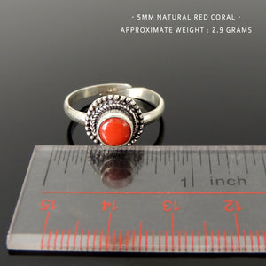 Natural Red Coral Ring, Handmade in Nepal, Bezel Midi Ring, Elegant & Stackable, Women's Navajo Bohemian Jewelry, Adjustable Sterling Silver Non-allergenic with 925 Purity