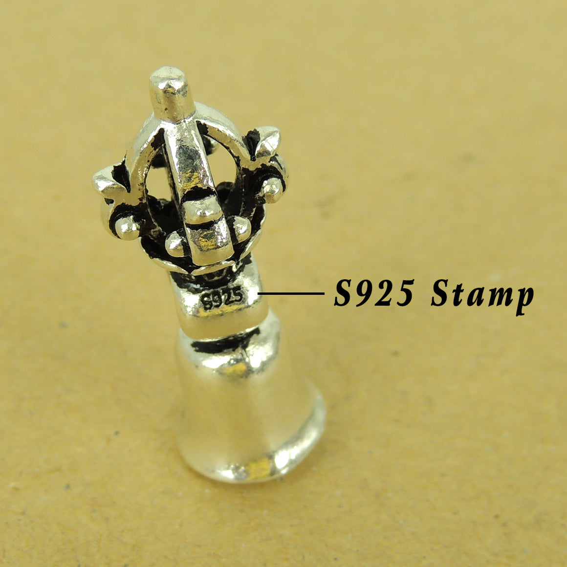 1 PC Buddhism Prayer Bell Pendant Charm - Genuine S925 Sterling Silver