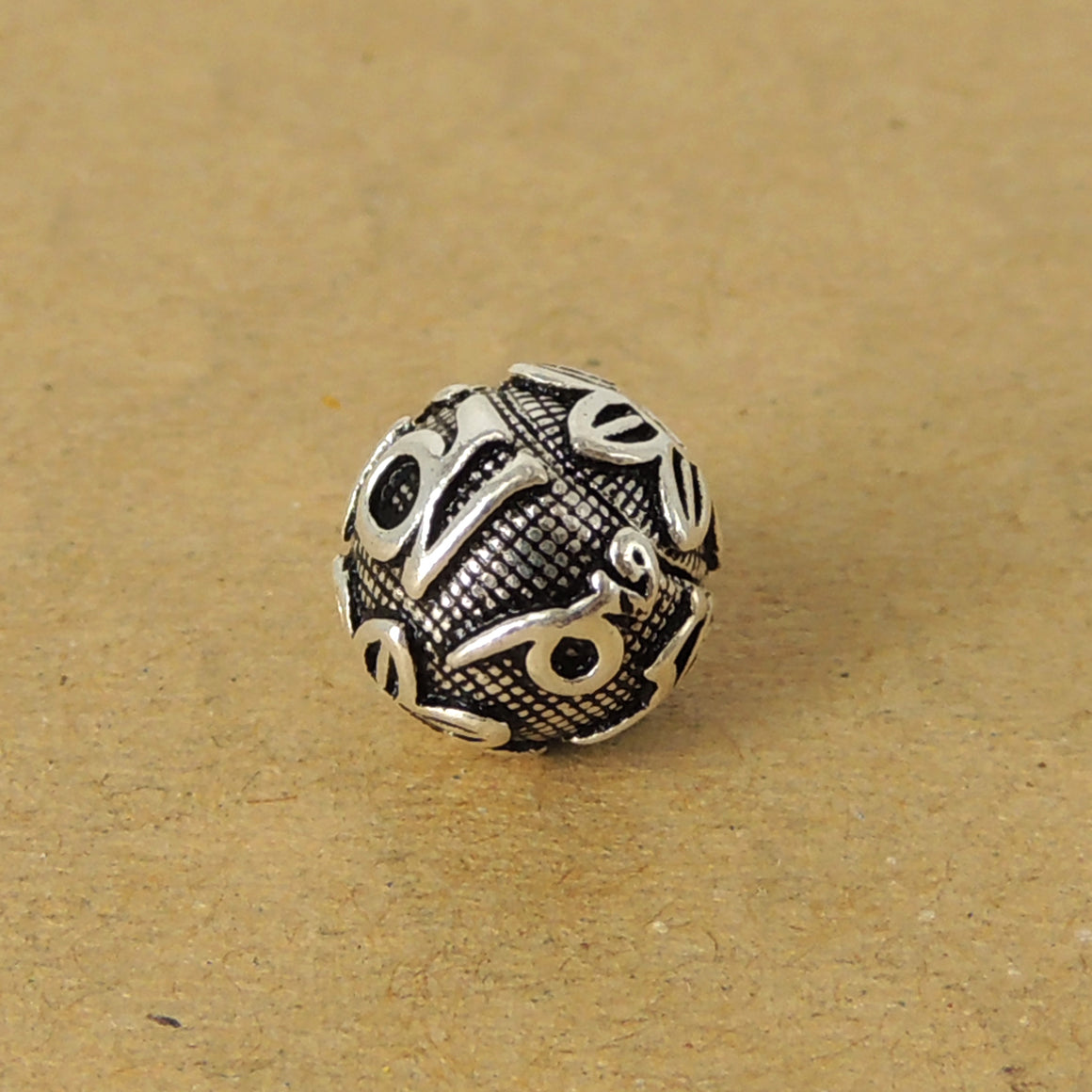 Custom Design Genuine Non-plated 925 Sterling Silver - Calming Yoga Bead with OM Symbol Pattern for DIY Jewelry Making WSP567X1
