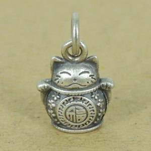 Lucky Cat Maneki Neko Pendant Charm | Blessing Protection Attraction of Wealth Unique DIY Jewelry Parts | Genuine 925 Sterling Silver with 925 Stamp 福 招财进宝