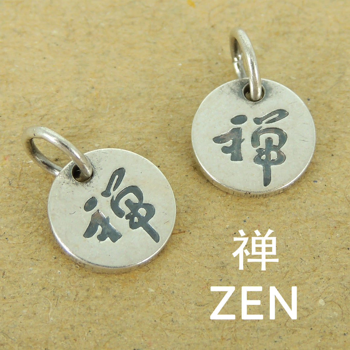 Zen Round Pendants Charms | Meditation Protection Unique DIY Jewelry Parts | Genuine 925 Sterling Silver with 925 Stamp 禅