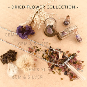 Handmade Bottled Dried Flower Collection - Natural Whimsical Purple Forget-Me-Not Flowers, Cork   Bottle Pendant Necklace with Tourmaline Variety Chip Gemstones and Alloy Metal Chain