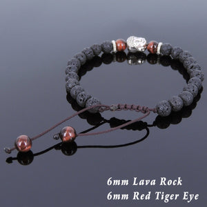 6mm Red Tiger Eye & Lava Rock Adjustable Braided Stone Bracelet with Tibetan Silver Spacers & Guanyin Buddha Bead - Handmade by Gem & Silver TSB215