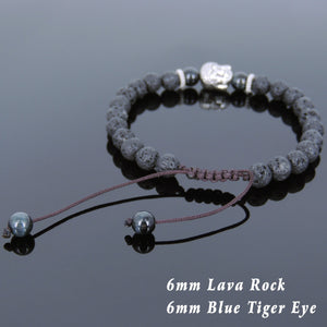 6mm Blue Tiger Eye & Lava Rock Adjustable Braided Stone Bracelet with Tibetan Silver Spacers & Guanyin Buddha Bead - Handmade by Gem & Silver TSB216