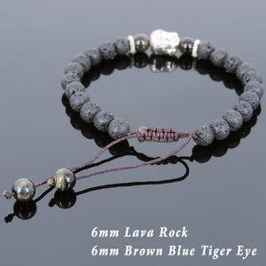 6mm Brown Blue Tiger Eye & Lava Rock Adjustable Braided Stone Bracelet with Tibetan Silver Spacers & Guanyin Buddha Bead - Handmade by Gem & Silver TSB220
