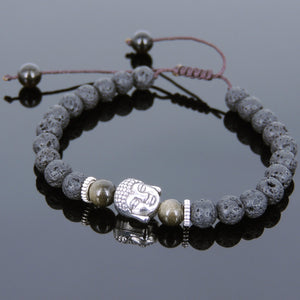 6mm Golden Obsidian & Lava Rock Adjustable Braided Stone Bracelet with Tibetan Silver Spacers & Guanyin Buddha Bead - Handmade by Gem & Silver TSB223