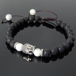 6mm White Howlite & Lava Rock Adjustable Braided Stone Bracelet with Tibetan Silver Spacers & Sakyamuni Buddha Bead - Handmade by Gem & Silver TSB230