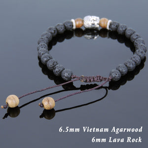 Lava Rock & Agarwood Braided Adjustable Meditation Bracelet with Tibetan Silver Spacers & Guanyin Buddha Bead - Handmade by Gem & Silver TSB238
