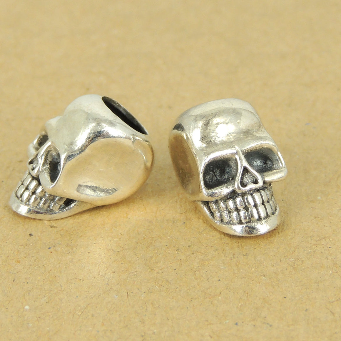 1 PC Smiling Skull Protection Beads - S925 Sterling Silver - Wholesale by Gem & Silver WSP421X1