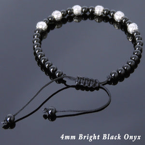 4mm Bright Black Onyx Adjustable Braided Gemstone Bracelet with S925 Sterling Silver Embossed Celtic Beads - Handmade by Gem & Silver BR796
