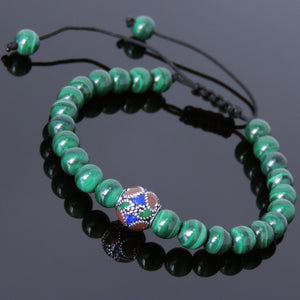 6mm Malachite Adjustable Braided Bracelet with S925 Sterling Silver Vintage Hand painted Bead - Handmade by Gem & Silver BR798