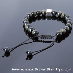 Brown Blue Tiger Eye Adjustable Braided Healing Gemstone Bracelet with S925 Sterling Silver Cube Balance Bead - Handmade by Gem & Silver BR804