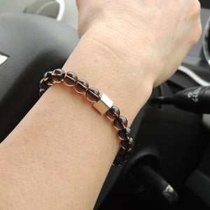 Smoky Quartz Adjustable Braided Gemstone Bracelet with S925 Sterling Silver Cube Bead - Handmade by Gem & Silver BR805