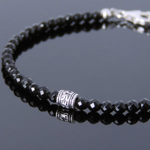 3mm Faceted Bright Black Onyx Healing Gemstone Bracelet with S925 Sterling Silver OM Meditation Barrel Bead & Clasp - Handmade by Gem & Silver BR717