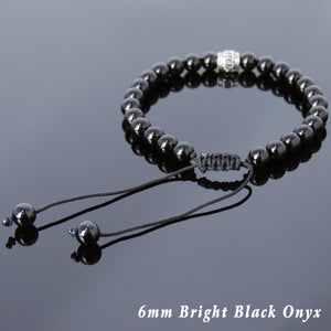 6mm Bright Black Onyx Adjustable Braided Bracelet with S925 Sterling Silver OM Meditation Cylinder Bead - Handmade by Gem & Silver BR818