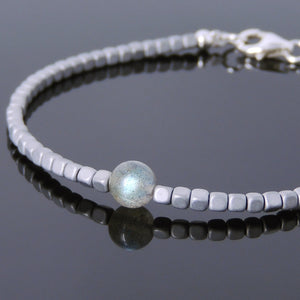 Labradorite & Cubed Matte Hematite Healing Gemstone Bracelet with S925 Sterling Silver Spacer Beads & Clasp - Handmade by Gem & Silver BR720
