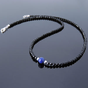 Lapis Lazuli & Faceted Bright Black Onyx Healing Gemstone Necklace with S925 Sterling Silver Spacer Beads & Clasp - Handmade by Gem & Silver NK116