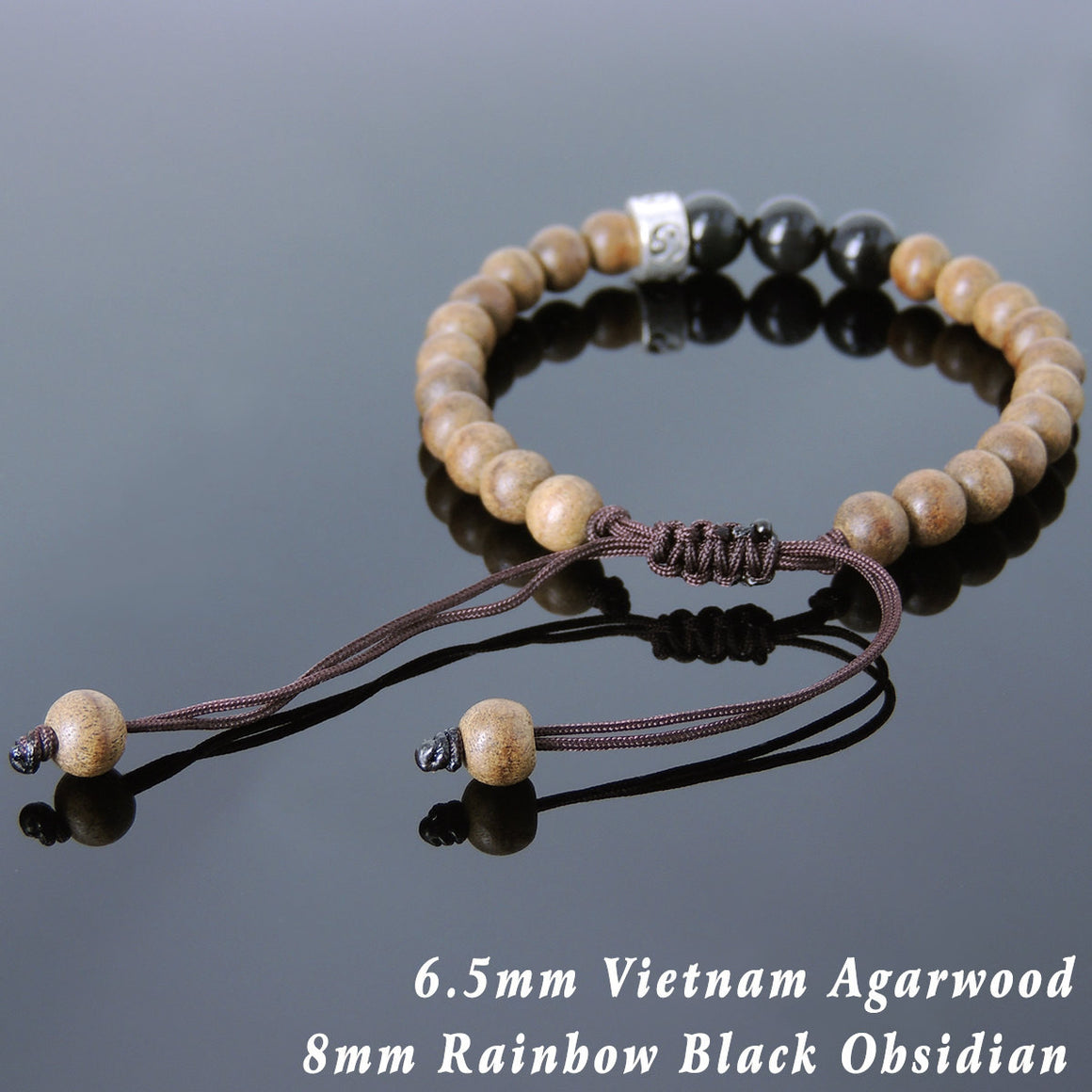 Rainbow Black Obsidian & Agarwood Mala Adjustable Bracelet with S925 Sterling Silver Ying Yang Taiji Bead - Handmade by Gem & Silver BR836